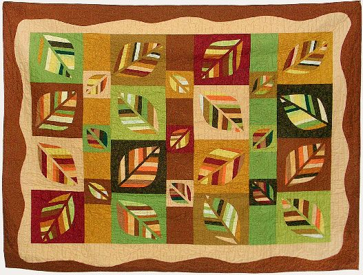 A bed quilt, 'Leafcover 1,' by Joy-Lily. Click to enlarge.