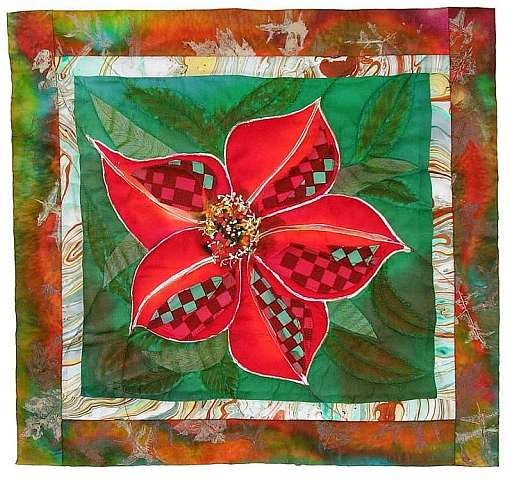 Silk quilt by Joy-Lily of a checkered red flower. Click to enlarge.
