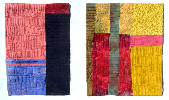 Pair of small quilts by Joy-Lily called 'Walls of San Miguel.' Click to enlarge.