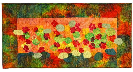 Silk quilt by Joy-Lily, Wild Nasturtiums II. Click to enlarge.