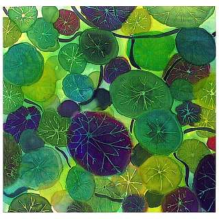 Silk painting by Joy-Lily of round green nasturtium leaves. Click to enlarge.