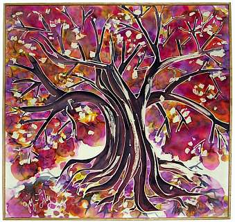 A silk painting by Joy-Lily of a plum tree in bloom. Click to enlarge.