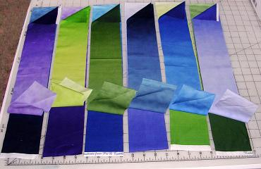 strips of freshly dyed ombre fabric by Joy-Lily