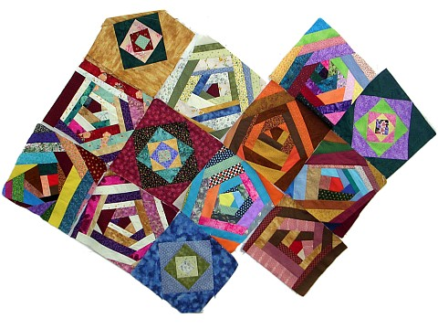 Intentionally irregular quilt pieces by Joy-Lily.