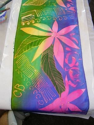 Painted silk in pink blue and green: leaf designs